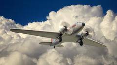 dc3 in flight - stock illustration