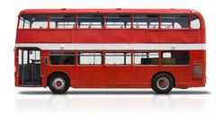 red double decker bus on white - stock photo