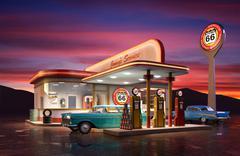 retro gas station - stock illustration