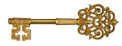 gold master key on white - stock photo