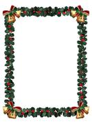 holly border isolated on white - stock illustration