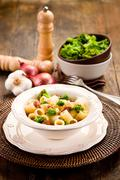 pasta with sausage and broccoli - stock photo