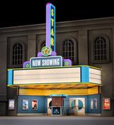 Movie theatre & ticket box Stock Photos