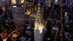 Stock Video Footage of Aerial view Chrysler Building illuminated dusk