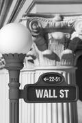 wall street sign with corinthian columns - stock photo