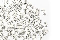 Assorted magnetic words Stock Photos