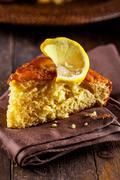 Lemon cake on wooden table Stock Photos