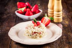risotto with strawberries - stock photo