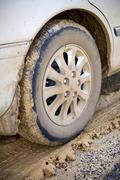 muddy wheel - stock photo