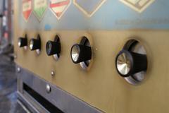 Vintage Vending Machine Buttons Close Up 60's Era - stock photo