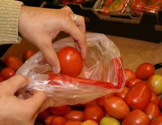 Fresh Grocery Mart Roma Tomatos Male Hand Model - stock photo