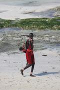 AFRICAN MASAI ON BEACH Kenya, Africa Stock Photos