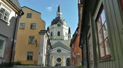 Stockholm Street and Katarina Church 01 Stock Footage