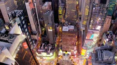 Stock Video Footage of Aerial illuminated view Times Square,  New York