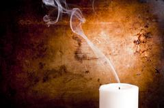 candle smoke trails - stock photo
