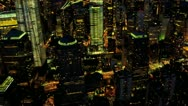 Stock Video Footage of Aerial illuminated view Ground Zero Manhattan, New York, USA