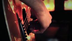 Finger Picking on Acoustic Guitar - On Stage HD Stock Footage