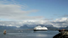 Cruise ship leaving Homer, Alaska in summer Stock Footage