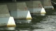 Strong Water Current under Bridge Stock Footage