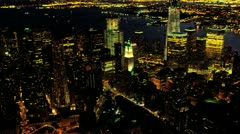 Aerial illuminated One World Trade Centre, New York, USA Stock Footage