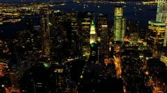 Aerial view of illuminated 1 WTC, Manhattan New York, USA Stock Footage