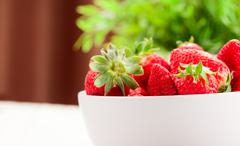 Stock Photo of strawberries with green plant background