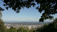 Scenic View of Portland Oregon Cityscape with Mount Hood Stock Footage