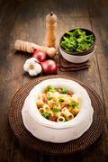 Pasta with sausage and broccoli Stock Photos