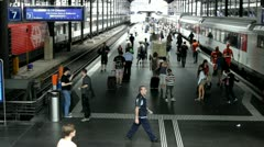 People boarding train in Luzern Switzerland Stock Footage