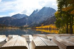 picturesque rural landscapes on mammoth lake - stock photo