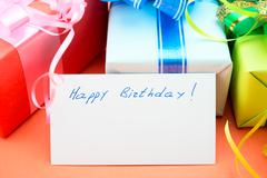 gift boxes. congratulating on a birthday. - stock photo