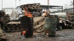 Burning Barrels 01 Stock Footage