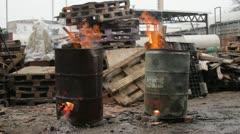 Burning Barrels 03 Stock Footage