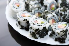 Sushi on a dish Stock Photos