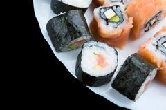 Sushi on a dish Stock Photos
