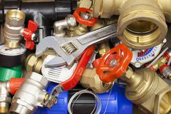 Various plumbing accessories and parts Stock Photos