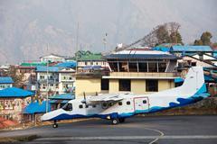 Aircraft in lukla airport Stock Photos