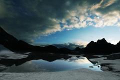 high mountains lake - stock photo