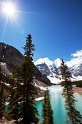 Stock Photo of mountain lake moraine
