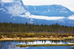 mountain lake moraine - stock photo