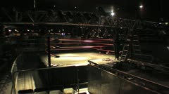Setting Up Lighting at a Pro Wrestling Show HD Stock Footage