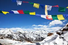 Prayer flags in himalayan Stock Photos