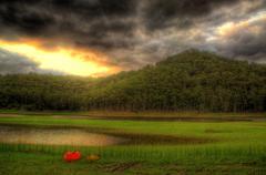 Canoe and Kayak Landscape Vista - stock photo
