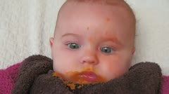 Baby after lunch Stock Footage