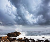 storm at sea - stock photo