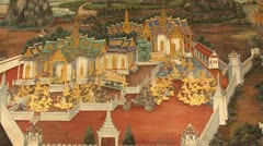 Wall painting at Grand Palace, Bangkok, Thailand. The painting is about Ramayana Stock Footage
