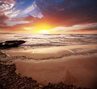 Sea sunset Stock Photos