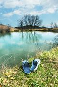 Stock Photo of spring lake and male