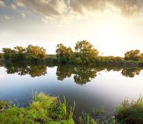summer lake - stock photo