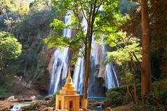 waterfall in myanmar - stock photo